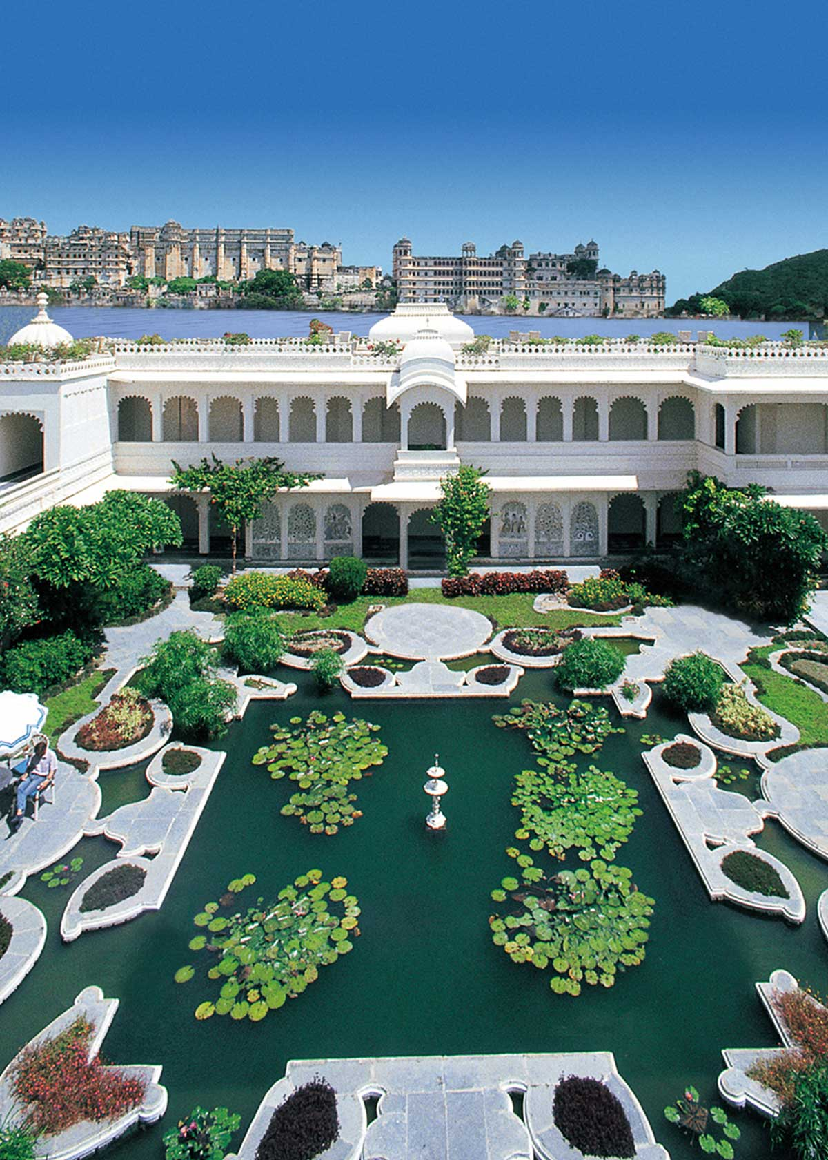 Exterior view (Lily Pond) of Taj Lake Palace, Udaipur